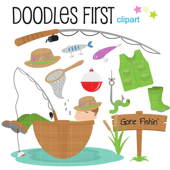 Gone Fishin' Digital Clip Art for Scrapbooking Card Making Cupcake ...