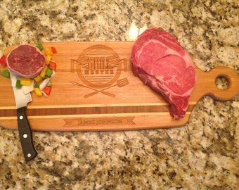 """Grill Master Personalized Cutting & serving Board. 20.5 x 7.75""""Caribbean Inlay 3/4"""" thick. Please visit our shop to see many more!"""