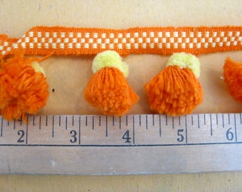 Orange and Yellow Pompom Sewing Trim