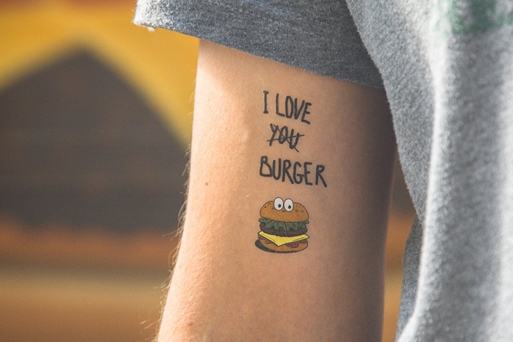 Temporary tattoo burger for Removal of temporary tattoos
