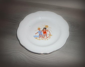 Soviet Children Plate Vintage USSR Russian Design Soviet Era / Girl Boy Seaside / Kitchen Decor Soviet Union Tableware Serving Dish Jurmala