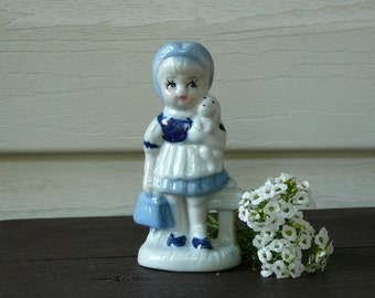 Vintage Hand Painted Porcelain Figurine Girl with Dog, Girl with Puppy, Blue White Porcelain Figurine @77