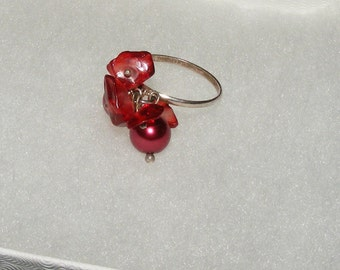 Sterling Silver Ring with Maroon Dangling Beads
