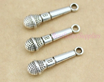 30 PCS, Microphone, Microphone Charm, Microphone Pendant, 3D Microphone Charm, DIY Supplies, Jewelry Making, Findings, 27*6.5*5mm