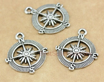 15 PCS - Compass, Compass Charm, Compass Pendant, Compass Connector, Nautical Style, Navy, Jewelry Making, Findings, DIY Supplies, 25*25mm