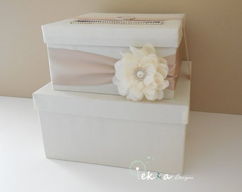 Wedding card box / money box / gift card holder / gift card box / 2 Tier (Ivory & Champagne)