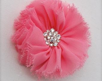 Peachy pink flower hair clip