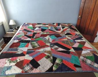 Handsewn Quilt - Crazy Quilt - Vintage Quilt