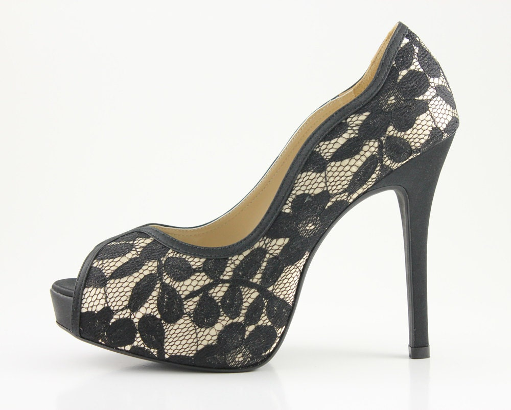 Black Lace Wedding Shoes Black Lace Bridal Shoes By Ammiejoyce