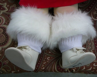 Toddler Faux Fur Boot Cuff in white, red or black ..... Leg warmers, Fluffies, Boot Toppers, Great Gift, Victorian Boot Top.