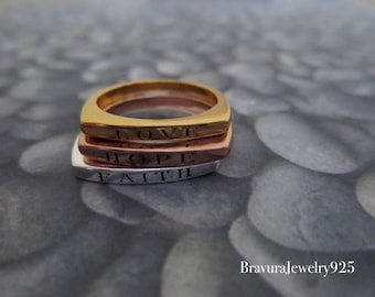 Love, Hope, & Faith Rings, Multi-color Fashion Rings, Stacking Rings, Faith Rings, Inspirational Rings
