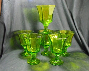 """Green Octagon 8 sided Juice/Wine 6"""" Goblets"""