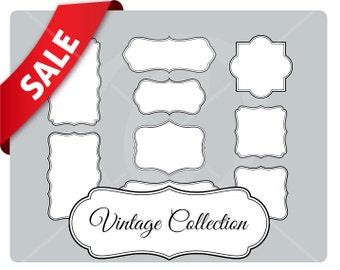9 white vintage frames with border - vintage labels - instant download