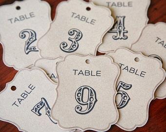 Wedding Table Number tags  - brown kraft fancy die cut bracket shape