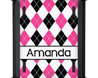 OtterBox iPad DEFENDER Case - 2 3 4 Air New - WORLDS FIRST - Personalized Custom Argyle - Black White Hot Pink Magenta