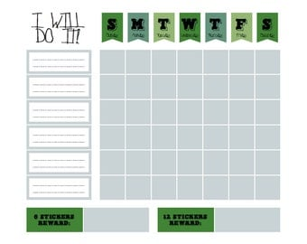 "Printable BOY Green Chore Goal Reward Chart - digital PDF file 8.5""x11"""