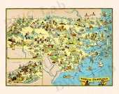 Pictorial Map of North Carolina - colorful fun illustration of vintage state map