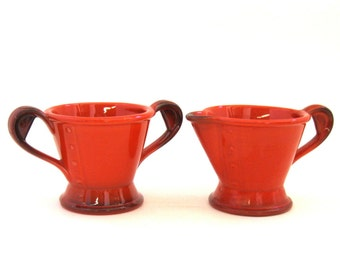 Metlox Red Rooster Cream and Sugar Set