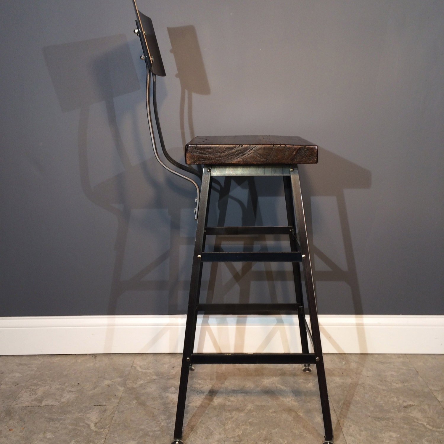 Marvelous photograph of Reclaimed Wood Bar Stool With /Steel Back by UrbanWoodFurnishings with #8B6740 color and 1500x1500 pixels