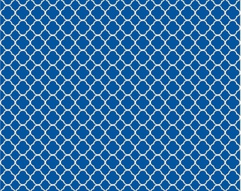 Blue quatrefoil craft  vinyl sheet - HTV or Adhesive Vinyl -  blue and white pattern vinyl HTV503