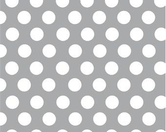 Gray with white dots craft  grey vinyl sheet - HTV or Adhesive Vinyl -  large white polka dot pattern HTV719