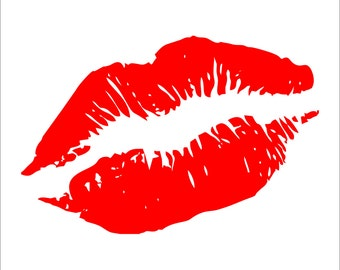 Lips Kiss Decal Sticker Car Decal Laptop Decal - Choice of Colors & Sizes