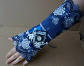 SALE Watch wrist cuff blue steampunk Tribal Gothic Vampire Lolita Wedding Prom LARP Medieval Goth