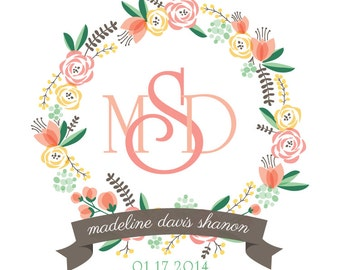 Floral Monogram Birth Announcement – Peach & Marigold Printable Personalized Baby Girl Nursery Art