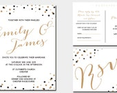 Black and Gold Confetti Wedding Invitation Suite SAMPLE - Navy and Gold, Purple and gold, polka dot