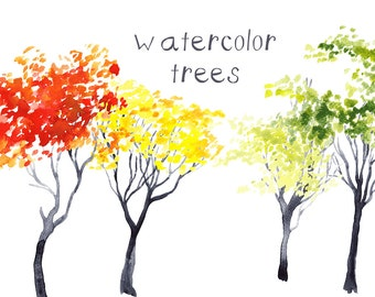 Watercolor Painted Trees Clip Art Digital Stamps clipart download scrapbooking card making graphics images commercial use