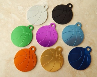 Laser Engraved Basketball Dog or Cat Pet ID Tag