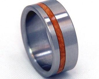 Briar Burl Offset Inlay Titanium Wood Wedding Band