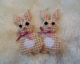 Bunnies for Spring, Needlepoint,Soft Light Brown