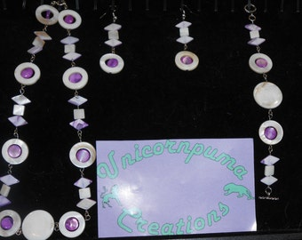White and Amethyst Shell Necklace, Bracelet and earrings set.