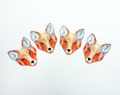 Red Fox Set of 4 small stickers 100% waterproof vinyl label.