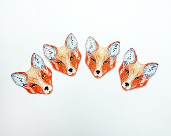 Red Fox Set of 4 small stickers // SALE 3 for 2 // 100% waterproof vinyl label.