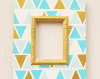 5x7 Distressed Frame in Aqua and Gold, Aztec Pattern Frame, Shabby Chic Frame