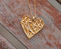 Gold California Heart Necklace