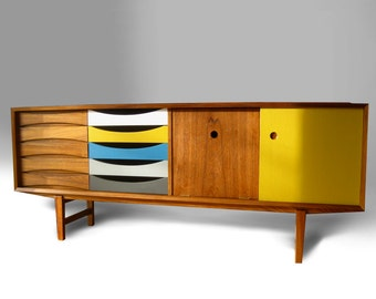 Mid century modern Teak Credenza Cabinet  Danish Arne Vodder Finn Juhl dresser sideboard chest of drawers