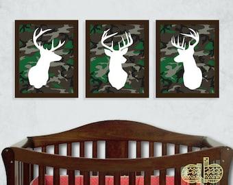 Deer Print Set - Deer Nursery - Hunting Nursery - Antler Print - Set of Three 8x10 Prints - Camo Print Set