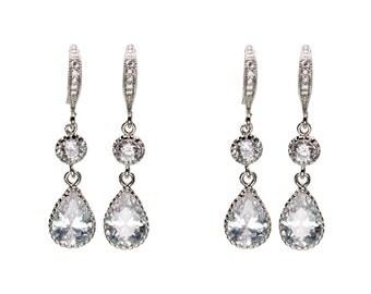 CZ Earrings, Wedding Jewelry, Bride Earrings, Drop Earrings, Dangle Earrings, Bridesmaid Jewelry, Mother's Day