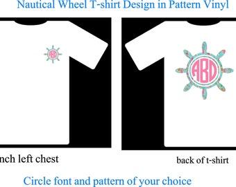 Monogram Shirt, Monogram Nautical Wheel T-Shirt