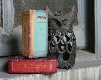 Brick BOOKENDS Harry Potter Year 1 and 7 - Repurposed Bricks to look like your favorite literary series
