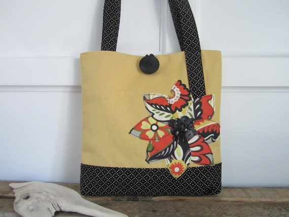 Yellow tote bag, Black purse, Orange handbag, Floral purse, Polka dot tote bag,Mothers Day gift, Woman's handmade, book bag, travel bag