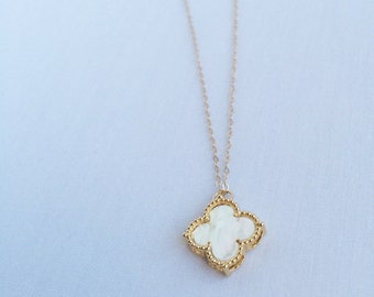 Lucky You in pearl white color • quatrefoil  pendant // 14k gold filled chain // white clover charm // white quatrefoil on gold