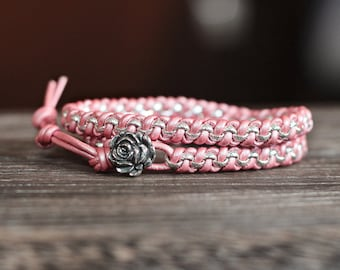 Pink Leather and Rolo Chain Wrap Bracelet
