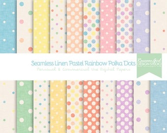 50% OFF Seamless Linen Pastel Polka Dots Digital Paper Set - Personal & Commercial Use