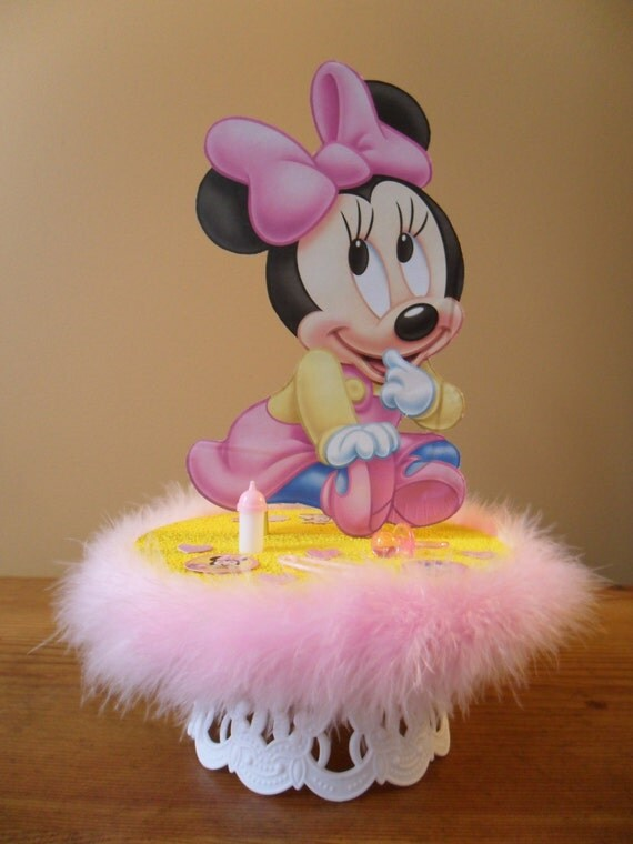 Baby minnie mouse baby shower cake topper or party table for Baby minnie mouse party decoration