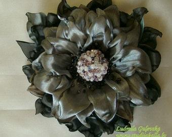 Handmade gray organza flower brooch, flower clip & pin