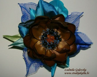 Handmade golden-brown-blue satin flower brooch, flower clip & pin, embroidered flower